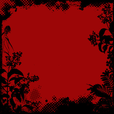 floral grunge: Floral frame in grunge style on red background, vector illustration Illustration