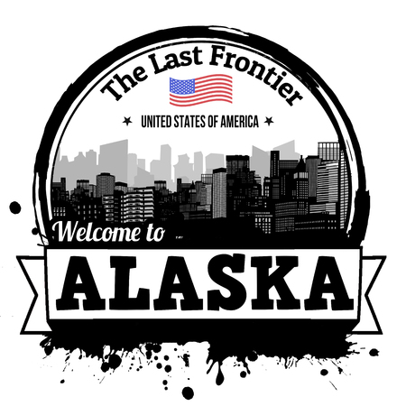 frontier: Alaska vintage stamp with text The Last Frontier written inside, vector illustration Illustration