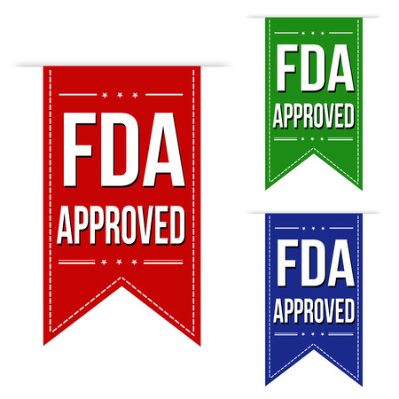 fda: FDA approved banner design set over a white background, vector illustration