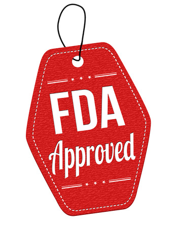 fda: FDA approved red leather label or price tag on white background, vector illustration