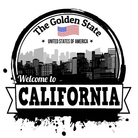 written: California vintage stamp with text The Golden State written inside, vector illustration Illustration