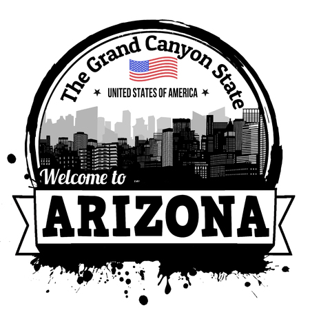 canyon: Arizona vintage stamp with text The Grand Canyon State written inside, vector illustration Illustration