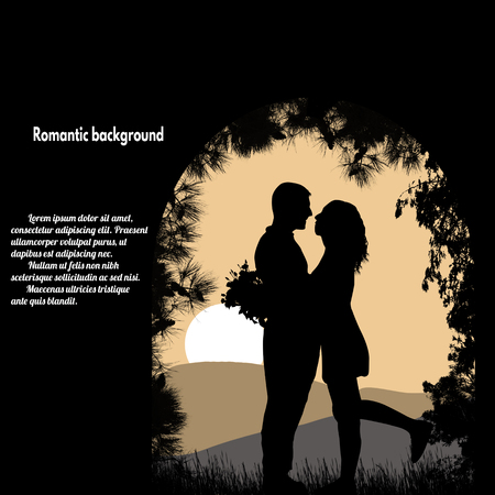 back to back couple: Silhouettes of lovers under the arch on beautiful place with place with your text, vector illustration Illustration