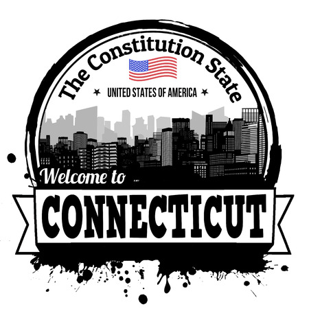 constitution: Connecticut vintage stamp with text The Constitution State written inside, vector illustration