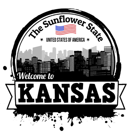 skyline city: Kansas vintage stamp with text The Sunflower State written inside, vector illustration