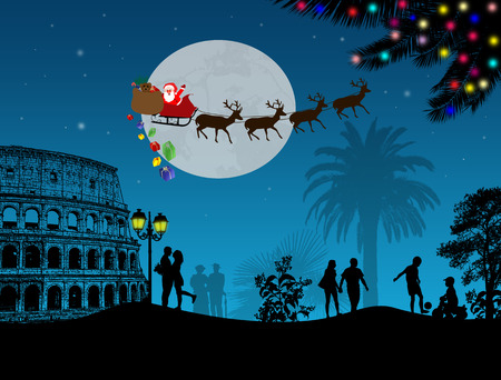 relaxing: People at night in Rome with santa claus and deers silhouettes flying over a city, vector illustration