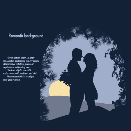 hugging: Silhouettes of lovers under the arch on blue with place with your text, vector illustration