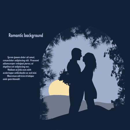 siluetas de enamorados: Siluetas de los amantes bajo el arco en azul con el lugar con su texto, ilustración vectorial