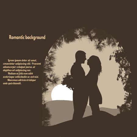 siluetas de enamorados: Siluetas de los amantes bajo el arco de estilo retro con el lugar con su texto, ilustración vectorial