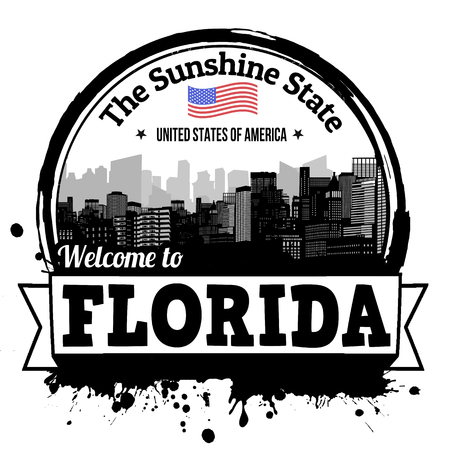 florida state: Florida vintage stamp with text The Sunshune State written inside, vector illustration Illustration