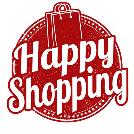 sale sticker: Happy shopping grunge rubber stamp on white background, vector illustration Illustration