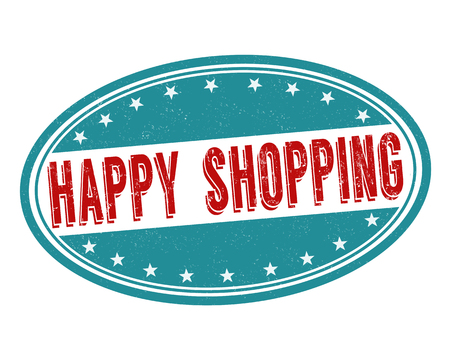 advantages: Happy shopping grunge rubber stamp on white background, vector illustration Illustration