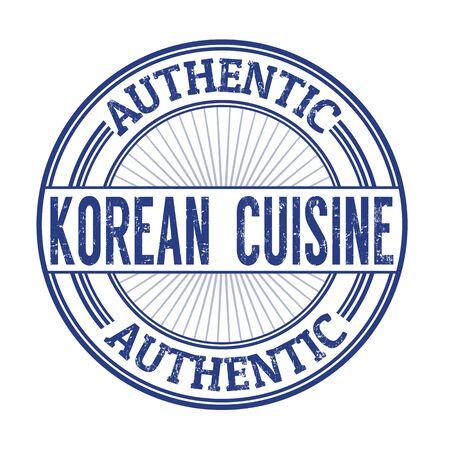 korea food: Korean cuisine grunge rubber stamp on white background, vector illustration