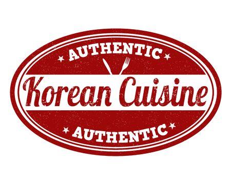 korean food: Korean cuisine grunge rubber stamp on white background, vector illustration