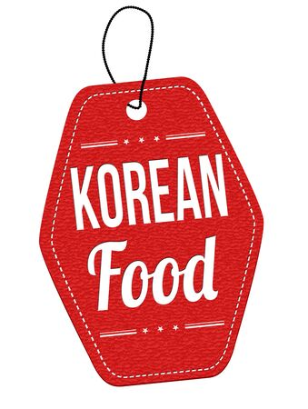 korea food: Korean food red leather label or price tag on white background, vector illustration