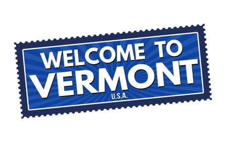 visit us: Welcome to Vermont travel sticker or stamp on white background, vector illustration