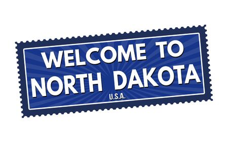 visit us: Welcome to North Dakota travel sticker or stamp on white background, vector illustration