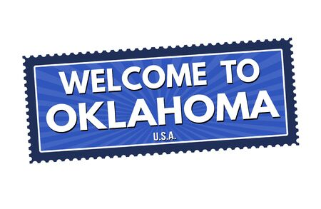 visit us: Welcome to Oklahoma travel sticker or stamp on white background, vector illustration