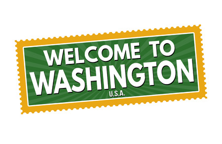 visit us: Welcome to Washington travel sticker or stamp on white background, vector illustration