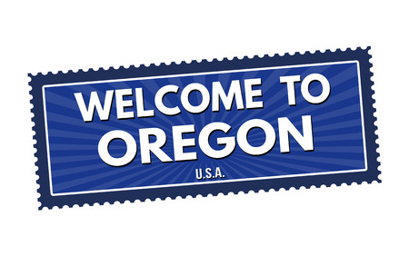 visit us: Welcome to Oregon travel sticker or stamp on white background, vector illustration