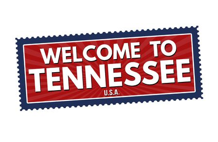 visit us: Welcome to Tennessee travel sticker or stamp on white background, vector illustration