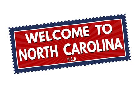 north carolina: Welcome to North Carolina travel sticker or stamp on white background, vector illustration Illustration