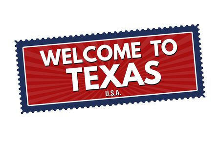 visit us: Welcome to Texas travel sticker or stamp on white background, vector illustration Illustration