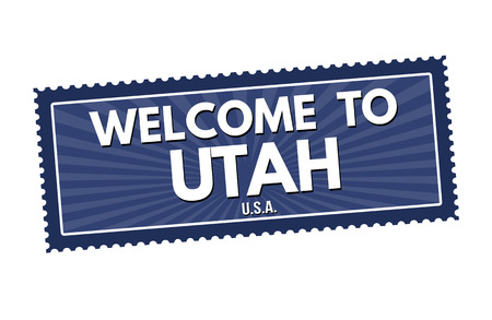 visit us: Welcome to Utah travel sticker or stamp on white background, vector illustration