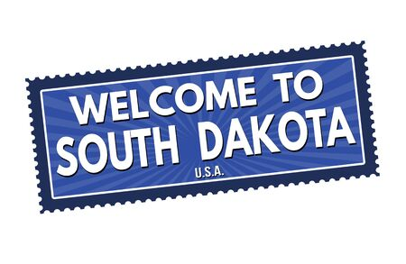 visit us: Welcome to South Dakota travel sticker or stamp on white background, vector illustration