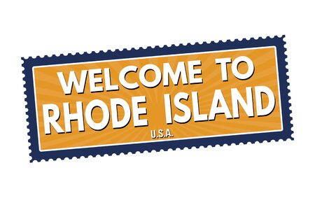 visit us: Welcome to Rhode Island travel sticker or stamp on white background, vector illustration