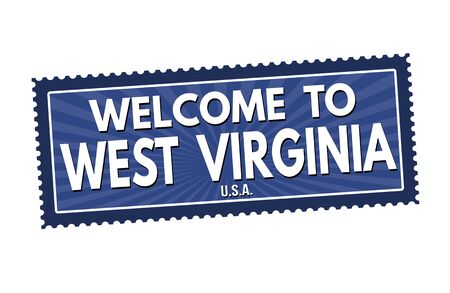 Welcome to West Virginia travel sticker or stamp on white background, vector illustration