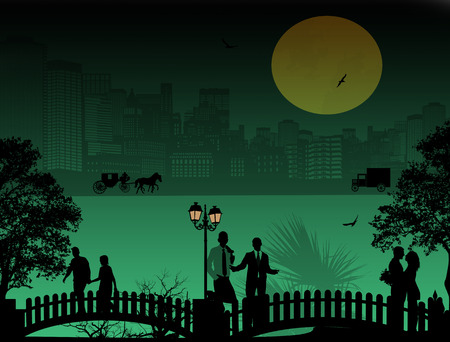 old city: Vector design background with beautiful cityscape and people silhouette Illustration
