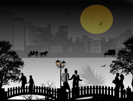 lovers: Vector design background with beautiful cityscape and people silhouette Illustration