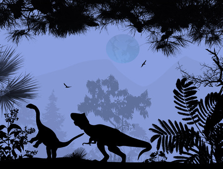 Dinosaurs silhouettes in beautiful landscape on blue background, vector illustration