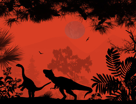 black forest: Dinosaurs silhouettes in beautiful landscape on red background, vector illustration
