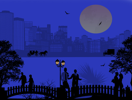 woman walk: Vector design background with beautiful cityscape and people silhouette at night