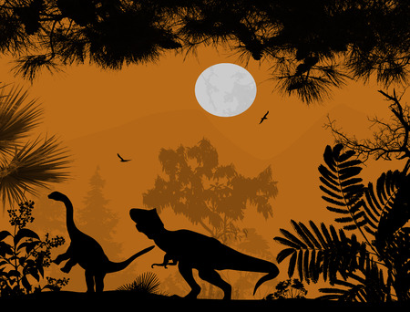 triassic: Dinosaurs silhouettes in beautiful landscape on orange background, vector illustration