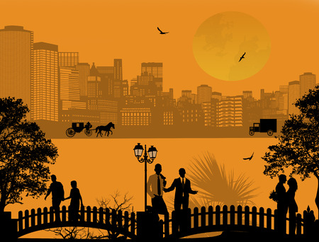 suburban street: Vector design background with beautiful cityscape and people silhouetteon orange Illustration