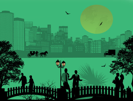 suburban street: Vector design background with beautiful cityscape and people silhouette on green
