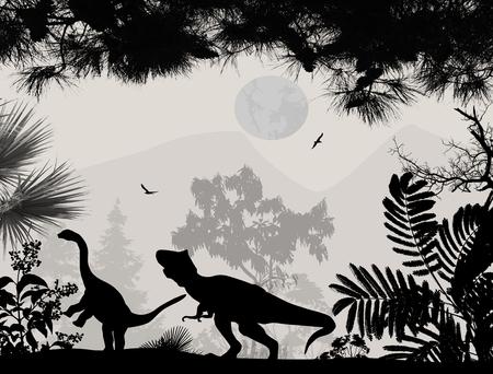 dinosauro: Dinosauri sagome in bellissimo paesaggio di sfondo, illustrazione vettoriale Vettoriali