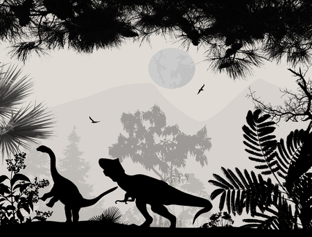 Dinosaurs silhouettes in beautiful landscape background, vector illustration