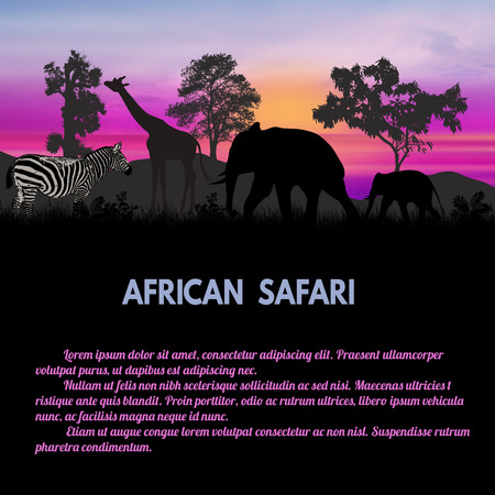 lilla: African Safari poster. Wild african animals silhouettes with space for your text, vector illustration