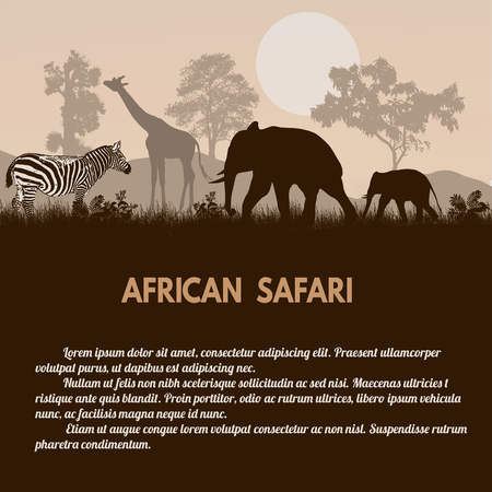 safari animals: African Safari poster. Wild african animals silhouettes on retro style with space for your text, vector illustration Illustration