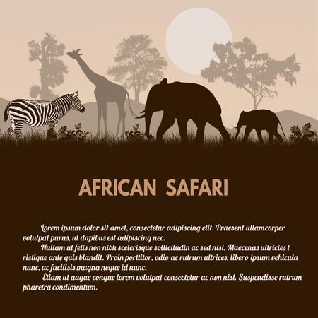 animales safari: Cartel del safari africano. Animales africanos salvajes siluetas de estilo retro con espacio para su texto, ilustración vectorial