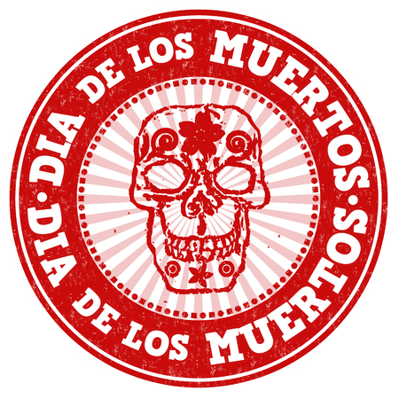 muertos: Day of the dead (Dia de Muertos in spanish language) grunge rubber stamp on white background, vector illustration Illustration