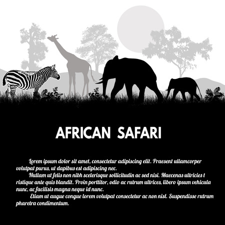 African Safari poster. Wild african animals silhouettes on white with space for your text, vector illustration