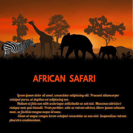 safari: African Safari poster. Wild african animals silhouettes on sunset with space for your text, vector illustration