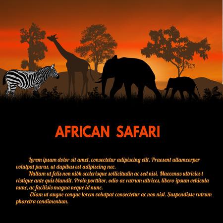 animales safari: cartel Safari africano. africano animales salvajes siluetas en la puesta del sol con el espacio para su texto, ilustración vectorial
