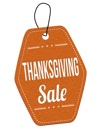 leather label: Thanksgiving Sale leather label or price tag on white background, vector illustration