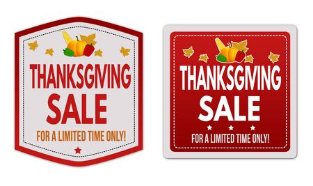 thanksgiving day symbol: Thanksgiving Sale stickers set on white background, vector illustration Vettoriali